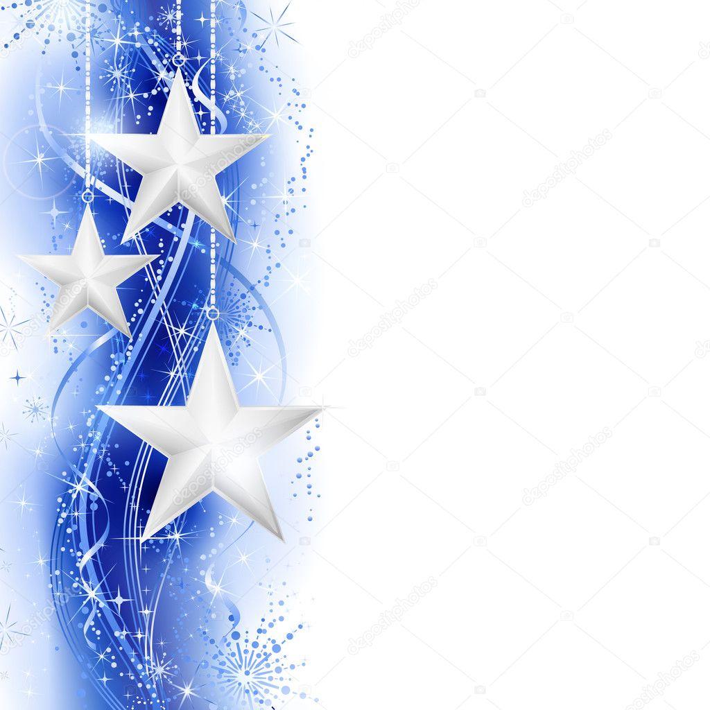 Blue silver star border - Stock Illustration