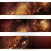 Set di banner bokeh tonalità seppia — Vettoriale Stock
