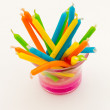 Birthday candles with a variety of colors — Stock Photo