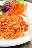 Spaghetti et crevettes — Photo