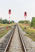 Railway and light signal — Stock Photo