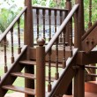 Old brown wooden stairs — Stock Photo