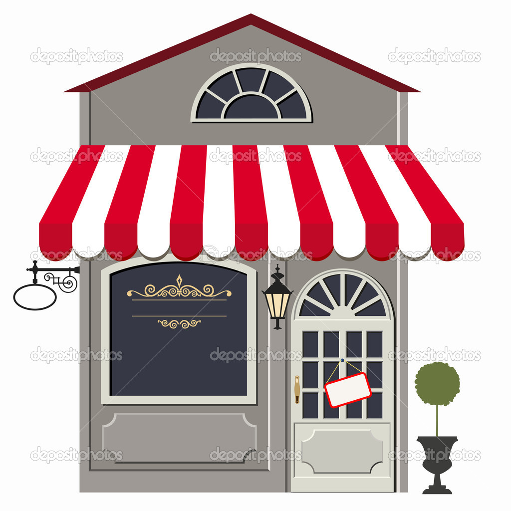 Vector illustration of little cute retro store, shop or boutique. No gradient used — Stock Vector #10412211