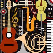 Abstraktní hudební nástroje — Stock vektor