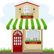 Cute little house and store — Stock Vector