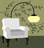 White armchair on natur background modern interior vector illustration — Stock Vector