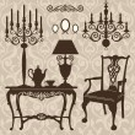 Set of antique furniture — Stock Vector