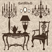 Set of antique furniture — Stock Vector