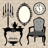 Set of antique furniture and objects — Stock Vector