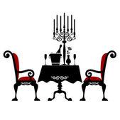 İki kişilik romantik bir akşam yemeği — Stok Vektör