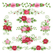 Roses collection — Stock Vector