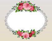 Vintage roses bouquet frame — Stock Vector