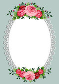 Vintage roses oval frame — Stock Vector