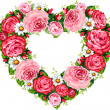 Heart roses frame — Stockvectorbeeld