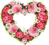Heart roses frame — Stock Vector