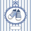Stock Vector: Blue baby shoes and frame