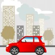 Car in the city - Stock Vector