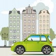 Green car in the city - Stock Vector