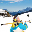 Stock Photo: Mountain skiing