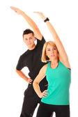 Stretching couple — Stock Photo