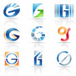 Glossy Icons for letter G — Stock Vector