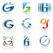Stock Vector: Glossy Icons for letter G