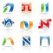 Stock Vector: Glossy Icons for letter N