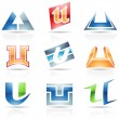 Stock Vector: Glossy Icons for letter U