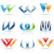 Stock Vector: Glossy Icons for letter W