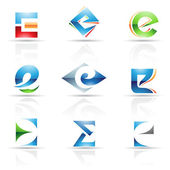 Glossy Icons for letter E — Stock Vector