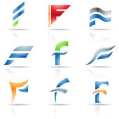 Glossy Icons for letter F — Stock Vector