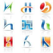H harfi için parlak simgeler — Stok Vektör