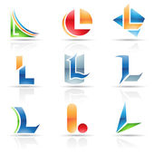 Glossy Icons for letter L — Stock Vector