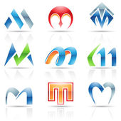Glossy Icons for letter M — Stock Vector