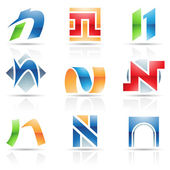 Glossy Icons for letter N — Stock Vector