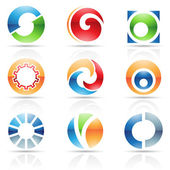 Glossy Icons for letter O — Stock Vector