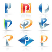 Glossy Icons for letter P — Stock Vector
