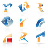 Glossy Icons for letter R — Stock Vector