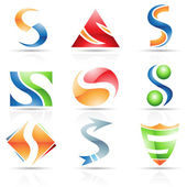 Glossy Icons for letter S — Stock Vector