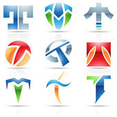 Glossy Icons for letter T — Stock Vector