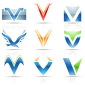 Glossy Icons for letter V — Stock Vector