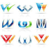 Glossy Icons for letter W — Stock Vector