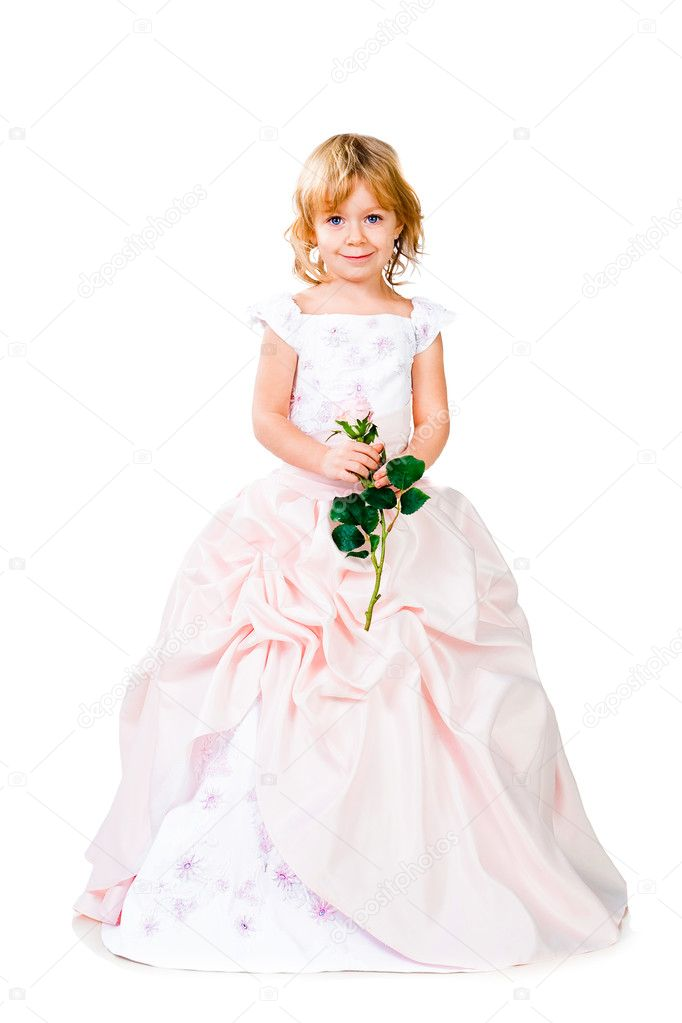 Fashionable little girl wearing gorgeous gown isolated on white studio background — Stock Photo #8758852