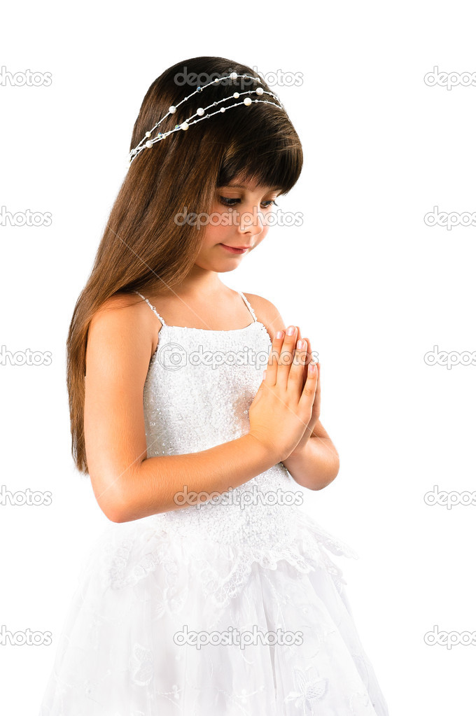 Beautiful little girl praying  isolated on white background — Stock Photo #8758993
