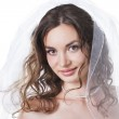 Portrait of pretty bride in veil isolated on white background — Stock Photo