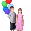Boy giving balloons as gift to girl isolated on white background — Stock Photo