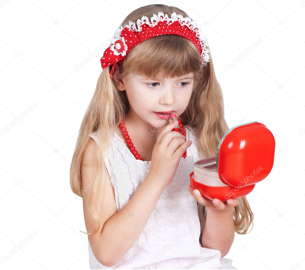 Little girl trying makeup isolated on white background — Stock Photo #9246232