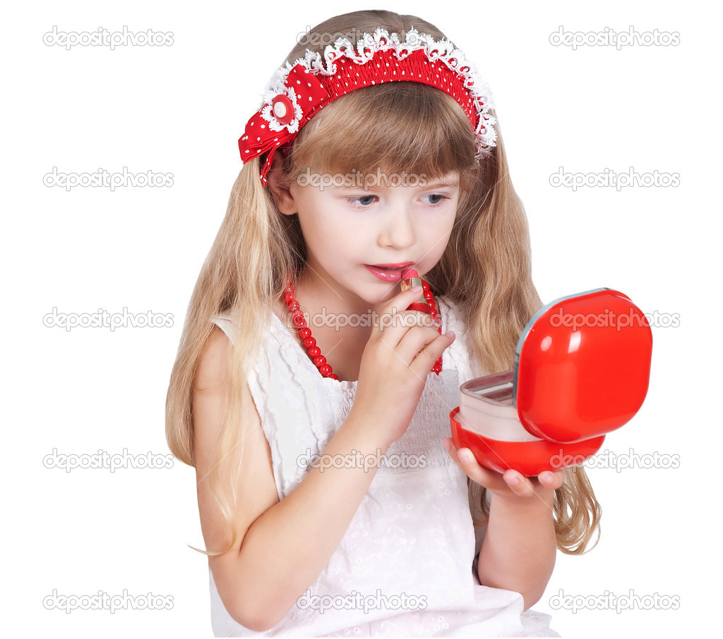 Little girl trying makeup isolated on white background u2014 Stock Photo ...