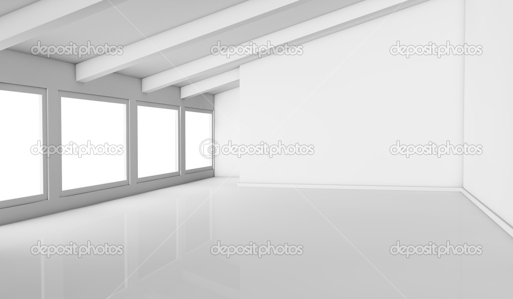 One empty bright mansard with windows on one side, the room is all white, with a reflective floor and there are no textures or colors (3d render) — Stock Photo #10115280