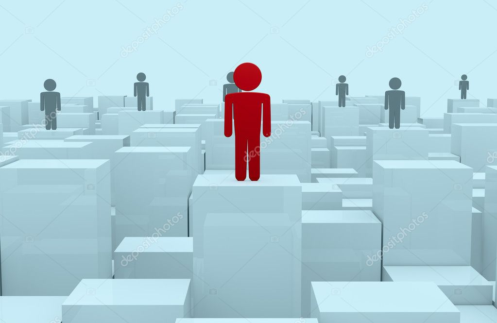 Front view of many cubes of different size with stylized men over them. the men in background are in gray color and the man in front is in red color (3d render) — Stock Photo #10115524